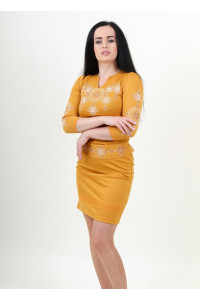 Платье «Славяночка» горчичного цвета