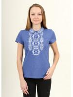 Футболка «Людмила» кольору джинс з біло-синьою вишивкою
