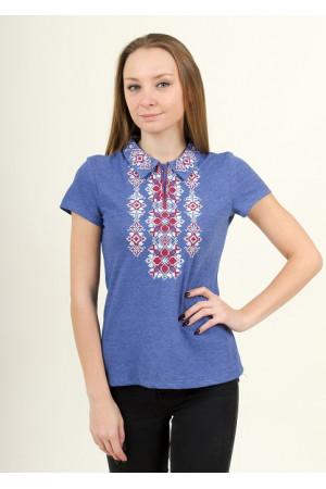 Футболка «Людмила» цвета джинс с бело-бордовой вышивкой