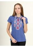 Футболка «Людмила» кольору джинс з біло-бордовою вишивкою