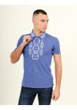 Футболка «Руслан» кольору джинс з біло-синьою вишивкою