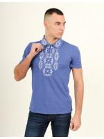 Футболка «Руслан» цвета джинс с бело-синей вышивкой