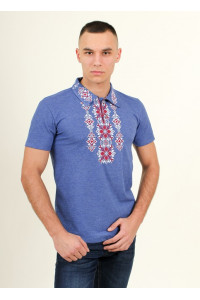 Футболка «Руслан» цвета джинс с бело-бордовой вышивкой