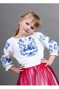 Вишиванка для дівчинки «Іваничка» з синьо-блакитною вишивкою