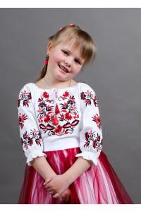 Вишиванка для дівчинки «Іваничка» з червоно-чорною вишивкою