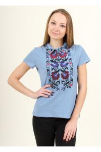 Женская футболка «Ватра» голубого цвета