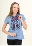 Жіноча футболка «Ватра» блакитного кольору
