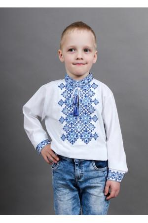 Вишиванка для хлопчика «Марко» з синьо-блакитним орнаментом