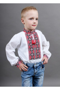 Вишиванка для хлопчика «Левко» з червоно-чорною вишивкою