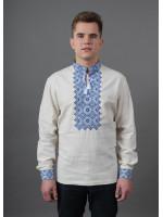 Вышиванка «Святослав» белого цвета с сине-голубой вышивкой