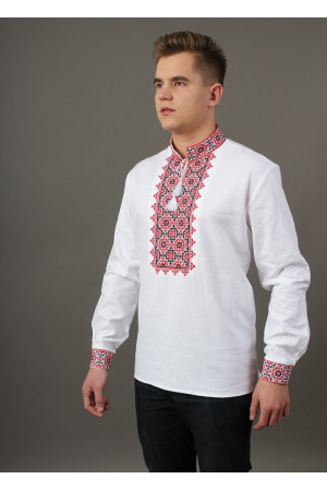 Вышиванка «Святослав» белого цвета с красно-черной вышивкой