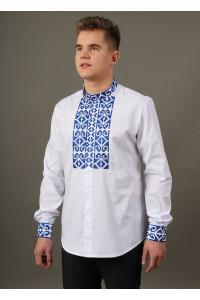 Вышиванка «Молодец» с синей вышивкой