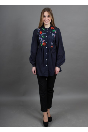 Блуза «Апрель» темно-синего цвета