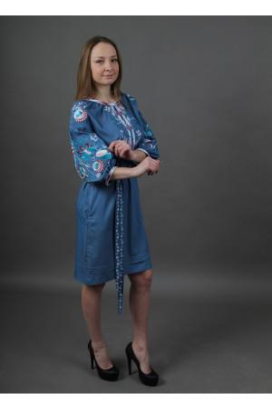Платье «Фонтан» цвета джинс