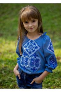 Вышиванка для девочки «Говерла» голубого цвета