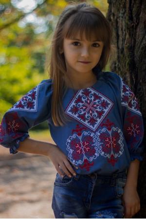 Вышиванка для девочки «Говерла» цвета джинс