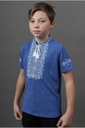 Футболка для мальчика «Зорянчик» цвета джинс с бело-серебристой вышивкой