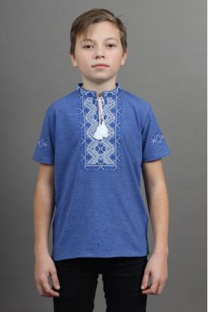 Футболка для хлопчика «Зорянчик» кольору джинс з біло-синьою вишивкою
