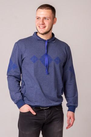 Світшот «Ельбрус» кольору джинс з синім орнаментом