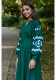 Сукня «Христина» темно-зеленого кольору з блакитним