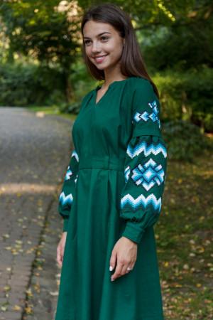 Платье «Христина» темно-зеленого цвета с голубым