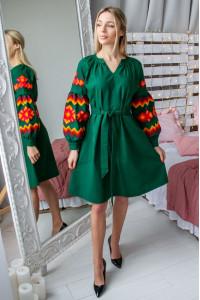 Сукня «Христина» зеленого кольору з теракотовим