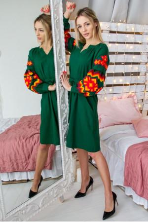 Платье «Христина» зеленого цвета с терракотовым