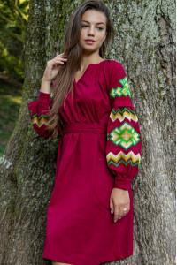 Сукня «Христина» вишневого кольору з зеленим