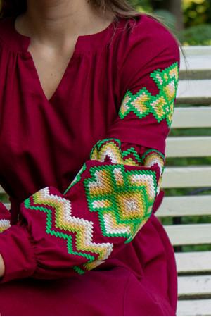Платье «Христина» вишневого цвета с зеленым