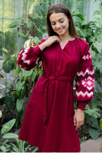 Платье «Христина» вишневого цвета с коралловым
