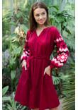 Сукня «Христина» вишневого кольору з кораловим