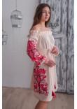 Сукня «Аврора» пудрового кольору з червоною вишивкою