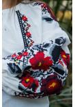 Вишиванка «Анастасія» білого кольору з чорною вишивкою