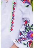 Вишиванка «Анастасія» білого кольору з зеленою вишивкою