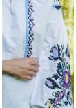 Вишиванка «Анастасія» білого кольору з синьою вишивкою