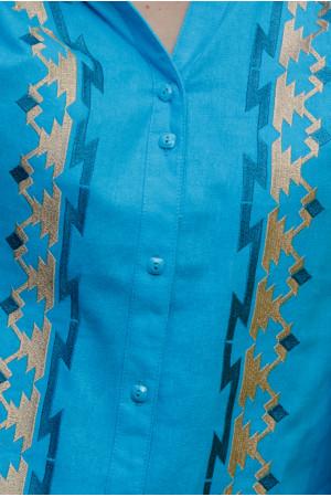 Вишиванка «Трембіта» блакитного кольору
