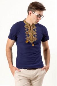 Футболка «Бажан» темно-синього кольору з золотавим орнаментом