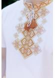 Футболка «Бажан» білого кольору з золотавим орнаментом