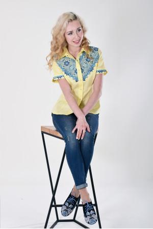 Вышиванка «Галичанка» желто-голубая
