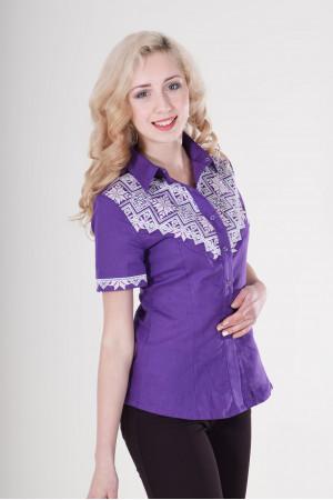 Вишиванка «Галичанка» фіолетово-біла