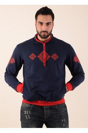 Свитшот «Эльбрус» темно-синего цвета с красным орнаментом