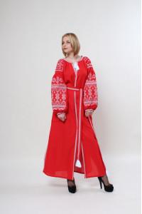 Сукня «Злата» червоного кольору з білою вишивкою