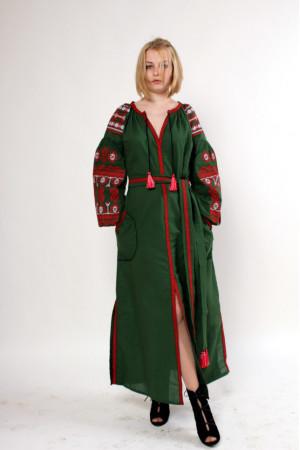 Сукня «Злата» зеленого кольору з червоною вишивкою