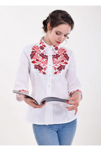 Блуза «Маковая грация» бело-красная