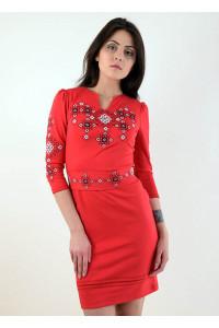 Платье «Славяночка» красного цвета