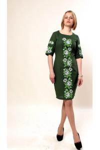 Платье «Пышная роза» зеленого цвета