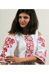 Блуза «Аура цветов» белая  с красным