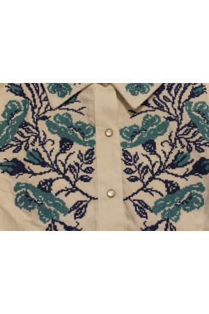 Блуза «Маковая грация» белая с голубым