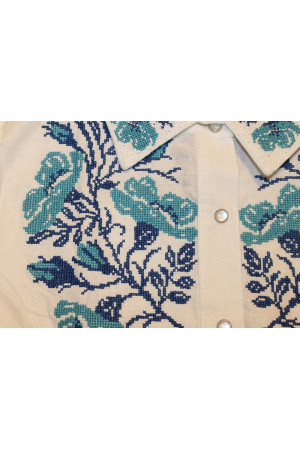 Вышиванка «Маковая грация» белая с голубым
