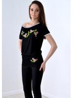 Футболка-туніка «Сливовий цвіт» чорного кольору КР